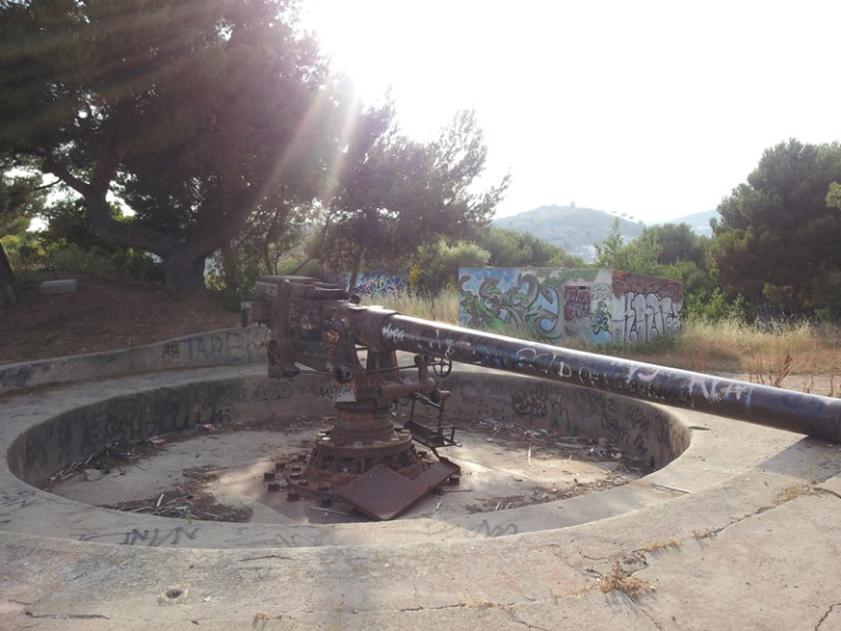 Emplaçament artiller abans de la restuaració.