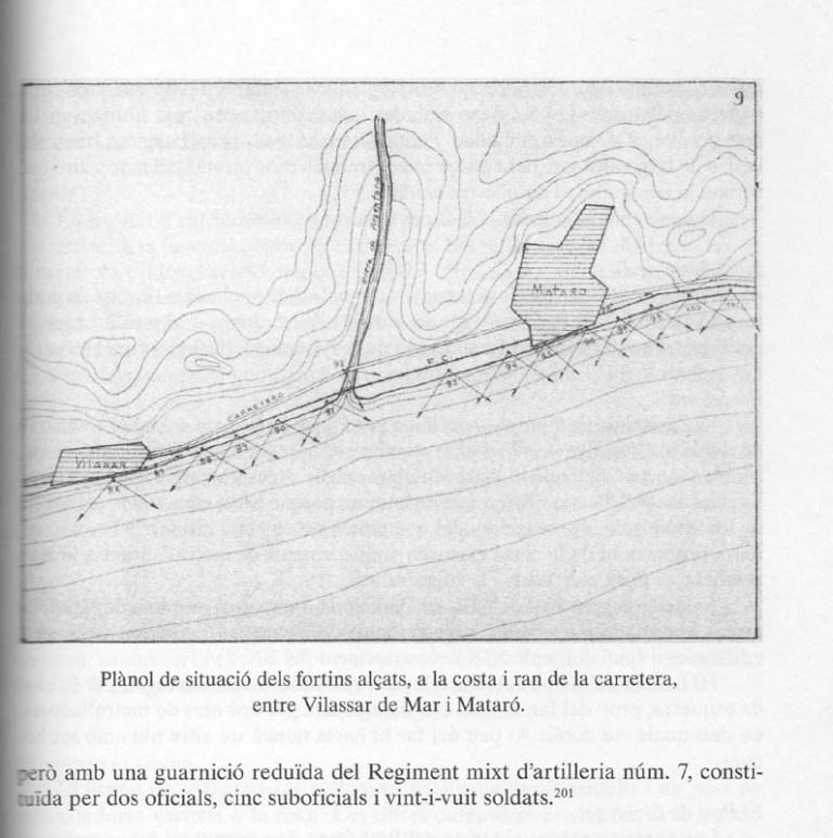 Veiem un mapa de sistema de focs de la costa entre Vilassar i Mataró, a nés del text que complementa la imatge anterior.