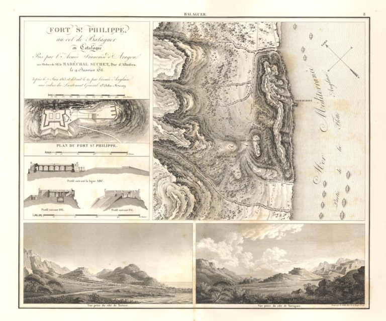 Mapa general del Coll de Balaguer i el seu castell el 1811, obre de l'equip de Suchet.
