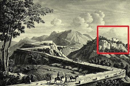 Gravat publicat per alexandre de laborde del coll de balaguer, situant a la dreta el Fort de Sant Felip.