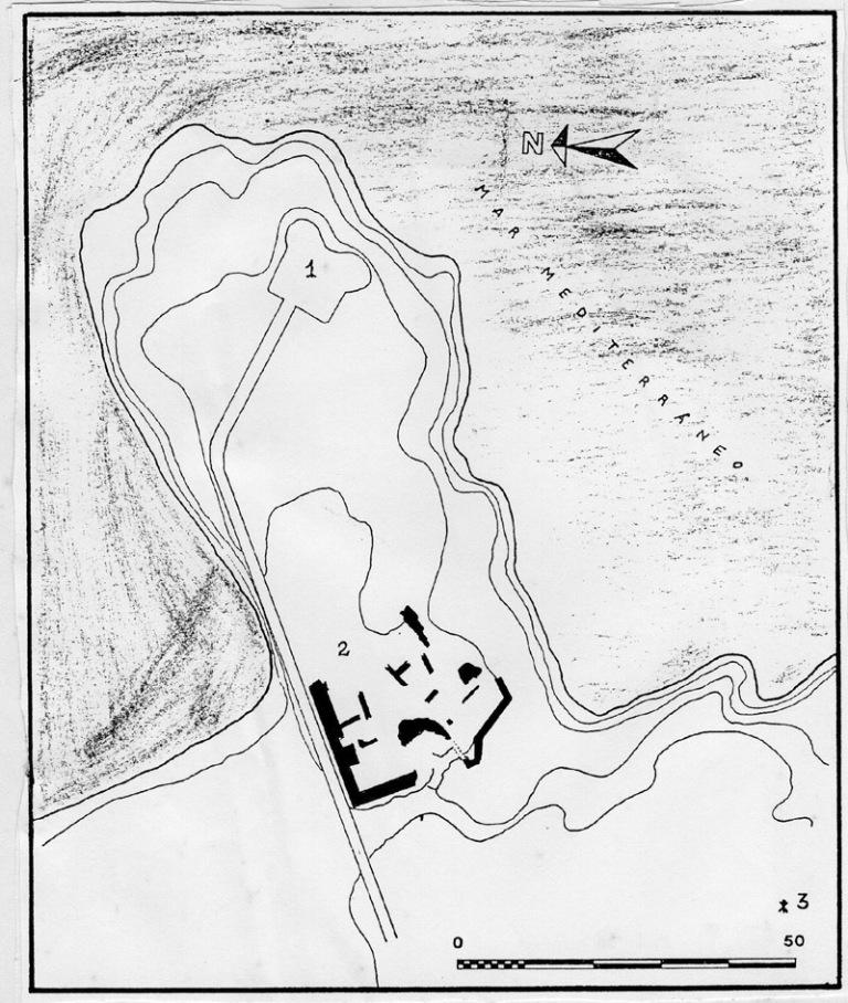 Remarcades en negre l'ubicació de les restes d'aquest primer castell.