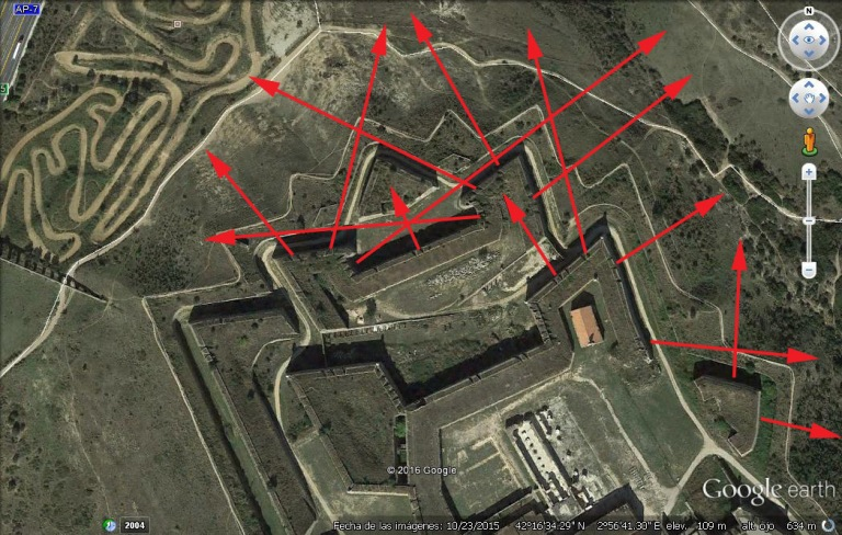 Planta d'una secció del Castell de Sant Ferran, a Figueres. En vermell les direccions de tir.